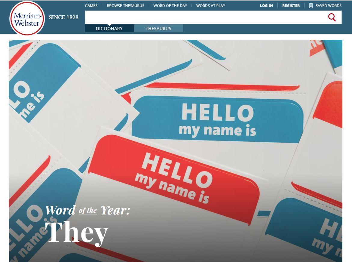 韋氏字典2019年度代表字:They新定義,單數非二元性別人稱代名詞