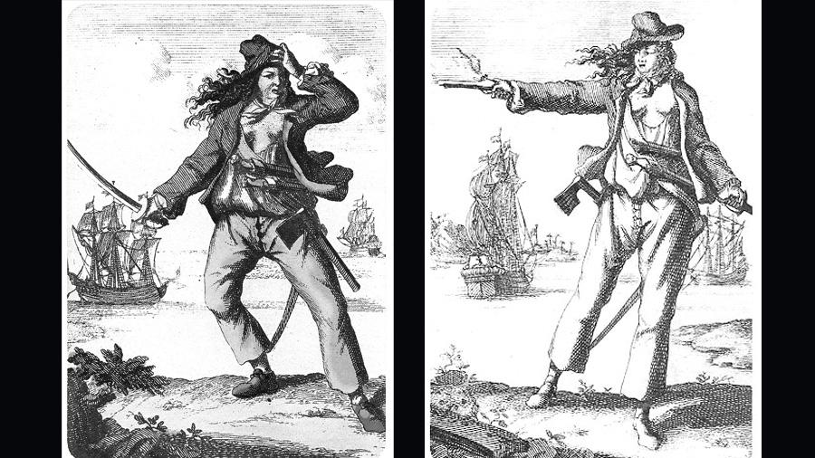 岸邊佇立的是兩位18世紀的傳奇女海盜,也是一對相愛的戀人