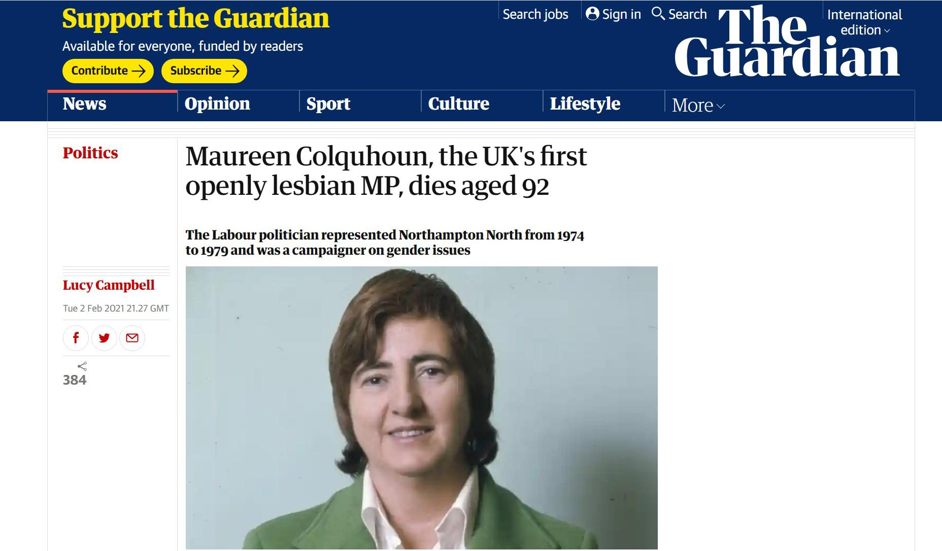 英首位女同國會議員逝世:曾因性向落選,但「樂而不悔」